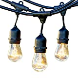Newhouse Lighting Outdoor String Lights with Hanging Sockets   Weatherproof Technology   Incandescent   Heavy Duty 48-foot Cord   18 Lights Bulbs Included (3 Free Replacement!)