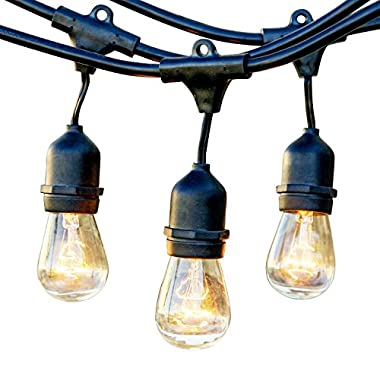 Newhouse Lighting Outdoor String Lights with Hanging Sockets | Weatherproof Technology | Incandescent | Heavy Duty 48-foot Cord | 18 Lights Bulbs Included (3 Free Replacement!)