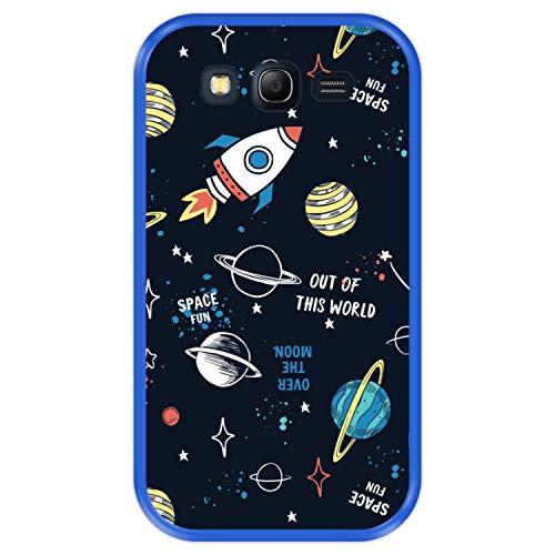 Hapdey Funda Azul para [ Samsung Galaxy Grand Lite - Grand Neo - Neo Plus ] diseño [ Patrón de constelación, Galaxia 3 ] Carcasa Silicona Flexible TPU
