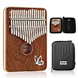 GECKO Kalimba 17 Keys Thumb Piano Red sandalwood with Waterproof Protective Box,Tune Hammer and Study Instruction,Portable Mbira Sanza Finger Piano,Gift for Kids Adult Beginners Professional