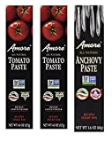 Amore Variety Pack (2) Tomato Paste - 4.5 oz & (1) Anchovy Paste 1.6 oz (Pack of 3)