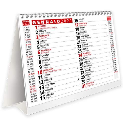 Calendario 2021 da Tavolo con Feste Settimane Lune e Santi - Certificato FSC® e Amico dell\'Ambiente - 19,5x16 cm