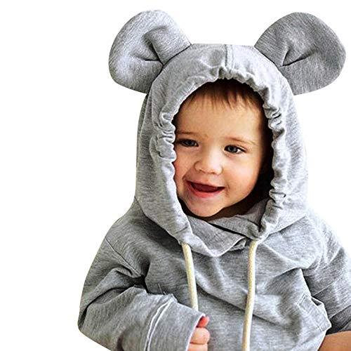 Janly Clearance Sale Conjunto de ropa para niñas de 0 a 4 años, de manga larga para bebés y niñas pequeños, con capucha gruesa sólida, para ropa de 18 a 24 meses (gris)