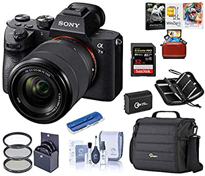 Sony Alpha a7III Full-Frame 4K UHD Mirrorless Digital Camera with 28-70mm Lens Bundle with Camera Bag + Extra Battery + Filter Kit + Mac Software Kit + 32GB SD Card + SD Card Case + Cleaning Kit by Sony