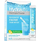Hydralyte Electrolyte Powder, All Natural Hydration, Instant Dissolve Sticks, Lemonade, 12 Count