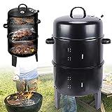 3-in-1 runder Holzkohlegrill & Smoker mit Temperaturanzeige, 2 Etagen, Barbecue-Grill für Garten, Camping, Kochen und Grillen (40 x 84 cm)