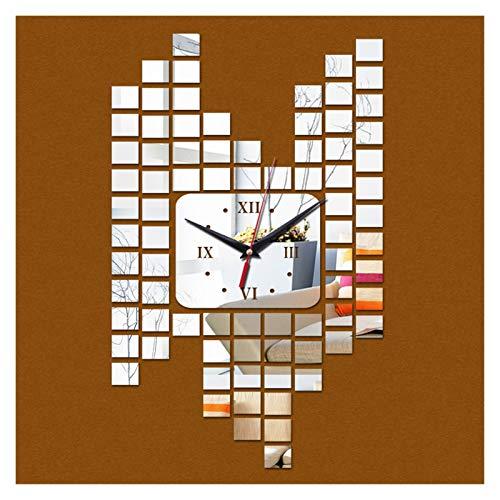 Restaurante familiar Cocina Reloj de pared Muro acrílico colgante de arte reloj seguro diseño moderno 3d cristal espejo mesa decoración del hogar sala de estar ( Color : 3/8' )
