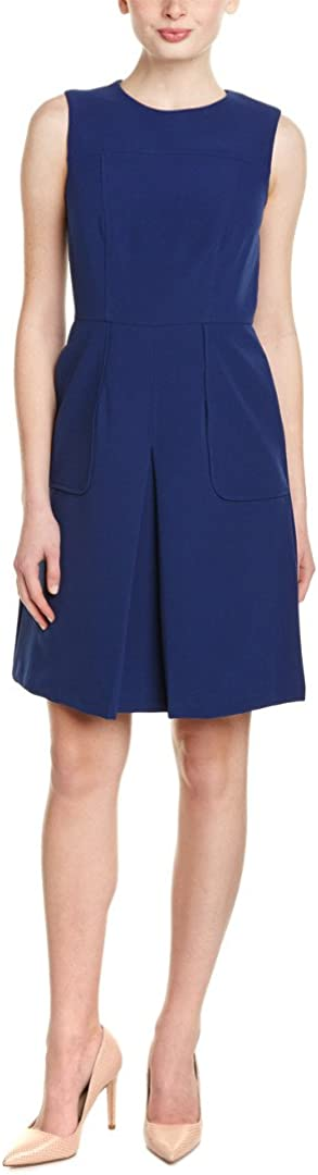 Donna Morgan Women's Sleeveless Crepe Box Pleat Fit and Flare Dress