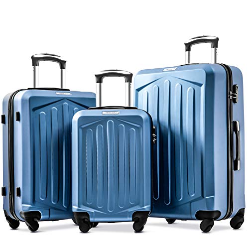Merax Set of 3 Luggage Lightweight ABS Hard Shell Travel 4 Spinner Wheels Suitcase Set Free 3-Year Warranty(3 Pieces,Dark Blue)