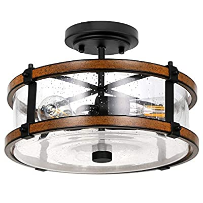 3 Light Close to Ceiling Light, Industrial Semi Flush Mount Light Fixture with High-Transparency Bubble Glass Lampshade, Black & Faux Wood Metal, Farmhouse Chandelier for Entry, Hallway, Bedroom