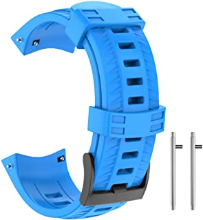 Isabake for Suunto 9 Watch Band, Hard Silicone Replacement Strap Compatible with Suunto 9 GPS Watch suunto 9 Accessories(Blue)