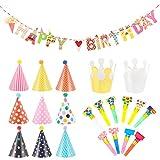 Xinstroe 22 Pezzi Articoli per Feste e Compleanni per Bambini, Striscioni Festa di Compleanno, Cappellino in Carta con Corona con Pom, Partito Trombette Fischietto Decor Festa