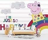 Fotomural Vinilo de Pared Peppa Pig Arcoiris Producto Oficial | 200x150cm | Fotomural para Paredes | Producto Original | Vinilo Adhesivo | Mural | Decoración Hogar |