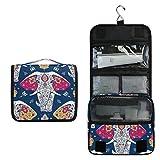 Alarge - Neceser para colgar, diseño tribal africano, elefante, bolsa grande portátil de viaje, neceser de maquillaje, organizador para mujeres y hombres
