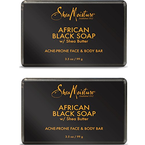 Shea Moisture African Black Soap Bar, 3.5 Oz, Pack of 2