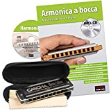 CASCHA Set d'apprentissage avec un harmonica diatonique de haute qualité en do majeur, méthode italienne pour débutants, étui et chiffon de nettoyage, idéal pour débutants & adultes, Noir