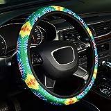 Labbyway Steering Wheel Covers Universal 15 Inch, Cute Car Steering Wheel Accessories for Women Girls, Aqua Flower