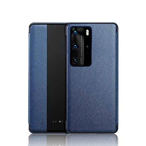 Davlon Funda de piel sintética con tapa para Huawei P40 Pro, con función de encendido y apagado automático, protección de cuerpo entero, funda protectora para Huawei P40 Pro, color azul