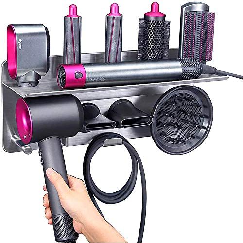 Kyrio 2 en 1 para rizador de pelo Dyson y secador de pelo, organizador de pared de almacenamiento compatible con Dyson Airwrap Styler y accesorios de secador de pelo susónico