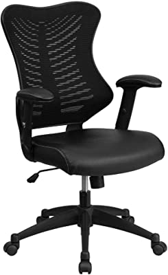 Flash Furniture High Back Designer Black Mesh Executive Swivel Ergonomic Office Chair with Seat and Arms & Desk Chair with Wheels | Swivel Chair with Mid-Back Black Mesh and LeatherSoft Seat