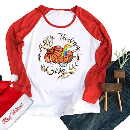 soweilan Damen T-Shirt Happy Thanksgiving, langärmlig, Kürbis-Splicing, Raglan-Baseballbluse Gr. XXL, rot