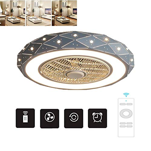 46W Iron LED Invisible Ventilator Aan Het Plafond Licht Met Licht Kit En Remote Control Verduisteren, 3-snelheden Chandelier Ceiling Fan (Color : Blue)