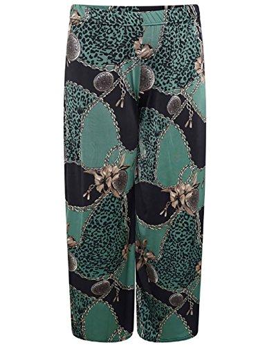 Islander Fashions Damen Barock Schal gedruckt Palazzo Damen Fancy Plus Size Party Wear Hosen Gr�n EU 54-56