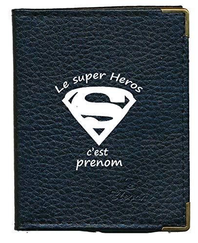 Syl'la Super Heros Etui Porte Cartes bancaire Credit fidélité Noir en Cuir pour 24 Cartes personnalise avec prenom