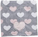 Little Love by NoJo Appliqued Coral Fleece Blanket, Hugs and Kisses