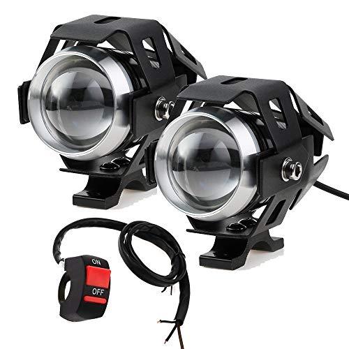 HANEU Faros delanteros para motocicleta con interruptor, 2 piezas, 125 W, 3000 lm, Cree U5 LED, antiniebla, interruptor universal de 3 botones (Negro)