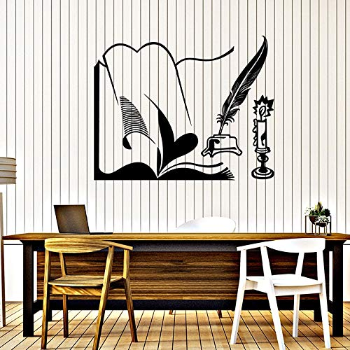 Bibliothek Buch Kerze Stift Retro-Stil Vinyl Wandaufkleber Lesung Fitnessstudio Wandtattoo
