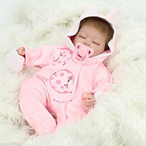 Nicery Reborn Baby Doll Renacer Bebé la Muñeca Vinilo Simulación Silicona Suave 18 Pulgadas 45cm Boca Natural Niña Niño Juguete vívido Pink Rabbit Eyes Close