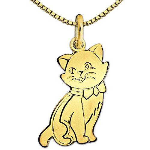 CLEVER SCHMUCK Set Goldener Damen Anhänger Katze flach 16 x 10 mm matt und glänzend 333 Gold 8 Karat mit vergoldeter Kette Venezia 45 cm