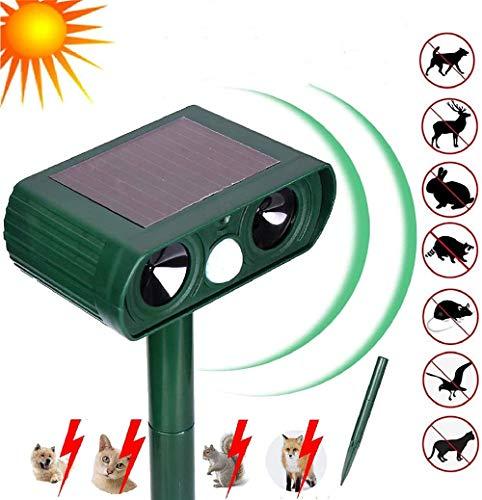 LINGKY Répulsif Chat Ultrason Solaire, Répulsif Ultrasonique Imperméable, avec Lumière Clignotante, pour Jardin/Pelouse/Ferme, USB/Fonctionnement sur Batterie
