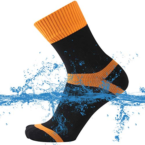 SuMade 100% Waterproof Dry Socks, Mens Best Wicking Outdoor Warm Breathable Anti-Blister Funny Sports Crew Socks for Hunting Biking Kayaking Hiking Gifts for Men 1 Pair (Orange, Large)