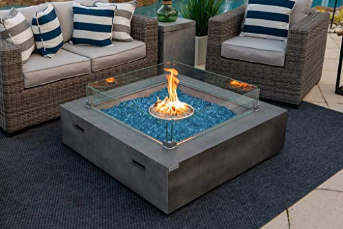 AKOYA Outdoor Essentials 42' x 42' Square Modern Concrete Fire Pit Table w/Glass...