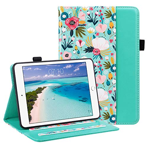 ULAK iPad Mini 3 Case, iPad Mini 1/2 with Pen Holder Soft TPU Back Cover Slim Lightweight Trifold Stand, Auto Sleep/Wake PU Leather Protective Smart Case for iPad Mini 1/2/3 - Colorful Flower