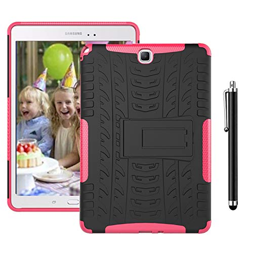 SsHhUu Case for Galaxy Tab S3 9.7 SM-T820/T825, Heavy Duty Hybrid Rugged Protective Case Tough Dual Layer Cover with Kickstand for Galaxy Tab S3 9.7-Inch Tablet SM-T820 T825 T827, Rose