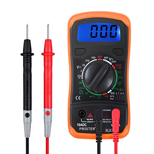 Proster Digitaler Multimeter Manueller Bereich Voltmeter Ammeter Ohmmeter DMM DC Strom Spannung Widerstand Diode Durchgang mit Buzzer LCD Hintergrundbeleuchtung und Batterietestfunktion