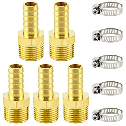 Tailonz Pneumatic Brass Hose Barb Fitting -1/2 Inch Barb to 1/2 Inch Male NPT Adapter(Pack of 5)