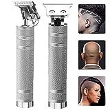 Ekupuz Outliner - Rasoio a T, ricaricabile, senza fili, con lama a T, per uomini, 0 mm, con testa calvata, senza intoppi, colore argento