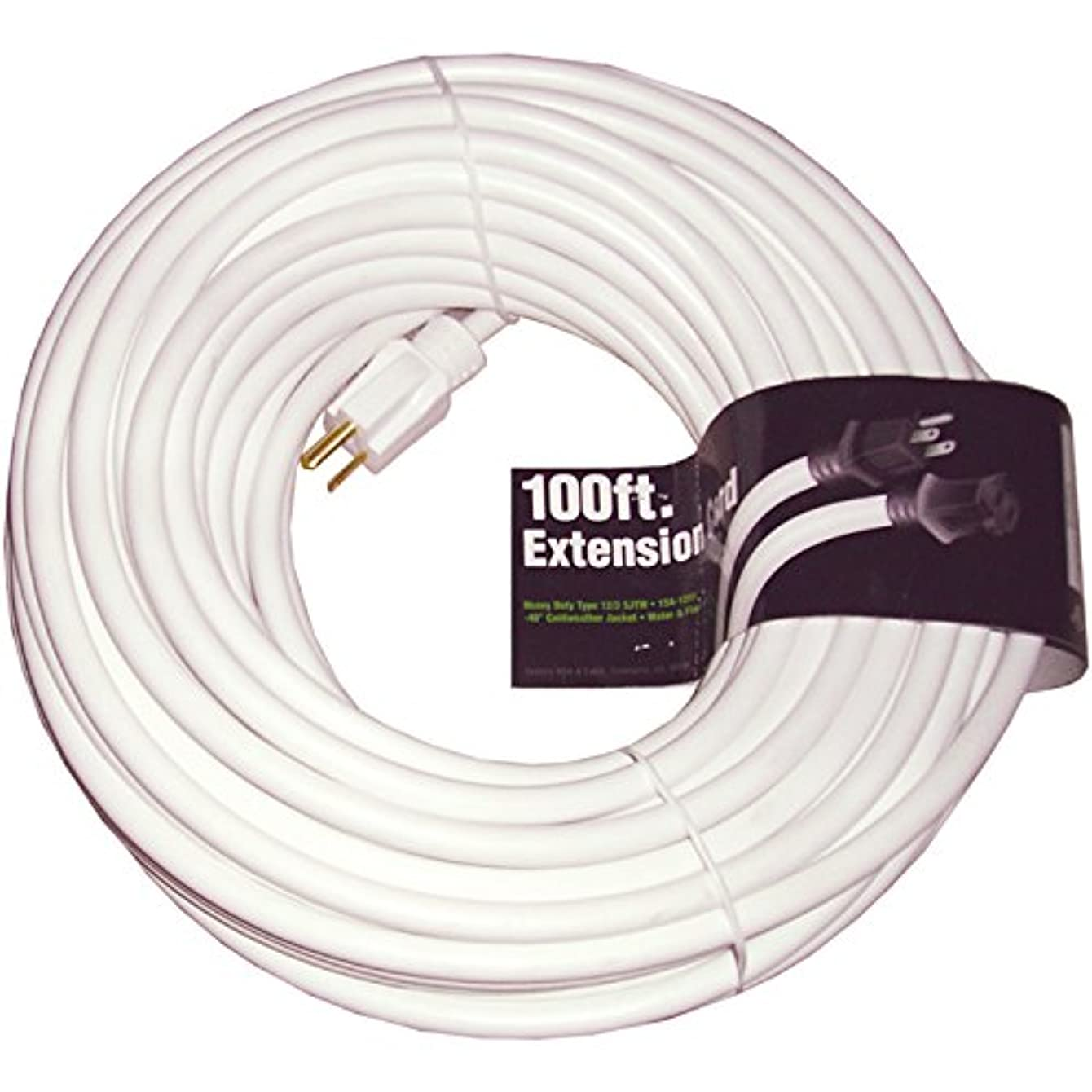 100' White Extension Cord 12/3