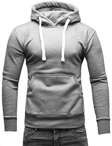 Crone Carlo Basic Herren Fleece-Hoodie Kapuzenpullover aus 100% Baumwolle mit Logo (S, Hellgrau)