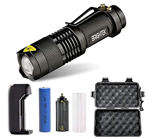 Portable Tactical Flashlight Rechargeable, Super Bright Torch, High Lumen Flashlights with belt clip, Best Emergency Camping with 18650 Battery and Charger, 5 flash light Modes, Zoomable lamp (1)