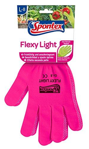 Spontex Flexy Light, flexible Damenhandschuhe für Garten- und Hobbyarbeiten, mit Anti-Rutsch-Noppen, aus Textilstrick, Größe L, 1 Paar