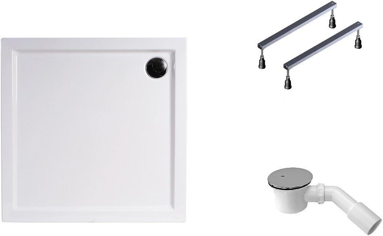 Mebasa DWSET228PF Duschwannen Set 100x80x4,5 cm inkl. Acryl Duschwanne, Duschwannenfu, Ablaufgarnitur und Wannenanker