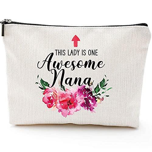 Regalos de la abuela para cumpleaños de la abuela para los ancianos, regalos de abuelos, nieta, nieta, nieta, día de la madre, bolsa de maquillaje regalos - This Lady is One Awesome Nana