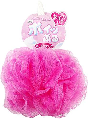 オーエ ボディスポンジ やわらか ピンク 約縦22×横14×高さ14cm ホイッぷる ボール 泡立て ネット もこもこ 洗える 60951P