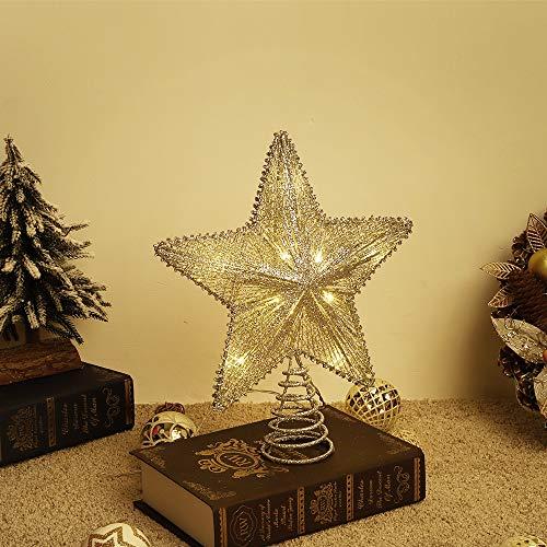 Lewondr Estrella de Punta de Árbol, Estrella Chispeante Brillantes Colgantes Ornamento con Luces Led para Decorativo Festival de Árbol de Navidad, Brillante de Estrella de Cinco Puntas-Oro Champagne