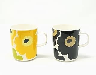 マリメッコ UNIKKO(ウニッコ)マグカップ/黄色、黒 セット